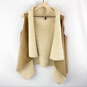 Elan Open Front Faux Shearling Suede Vest Tan O/S